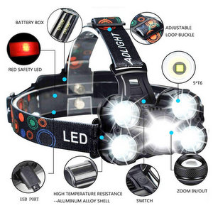 COOLEAD Torcia Frontale Zoomable 4 Modalità 5 LED Ricaricabile